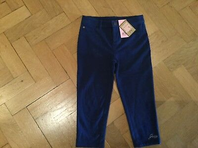 NWT Juicy Couture New & Genuine Girls Age 10 Blue Crop Leg Cotton Pants & Logo