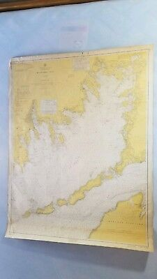 "Vintage 1961 Buzzards Bay Nautical chart HUGE 48""x36"" Elizabeth Islands map"