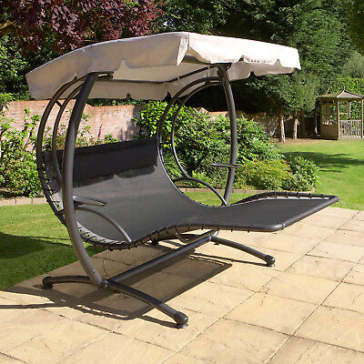 Luxury Double SUN Lounger Swing Seat  –  Garden Patio Twin Shade Canopy Day Bed