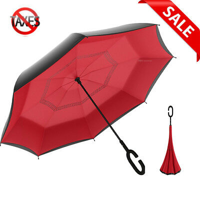 Double Layer Inverted Umbrella with C-Shaped Handle for Car Rain Outdoor Use