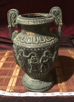 Antique Vintage Terra Cotta Urn Greek Roman Vase Double Handles 9 7/8x6""