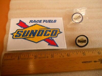 2 Blue SUNOCO Gas Station Lapel Pins & 1 SUNOCO Race Fuels Iron on Patch