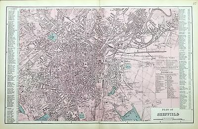 SHEFFIELD Original Large Antique Map Plan Bacon 1883