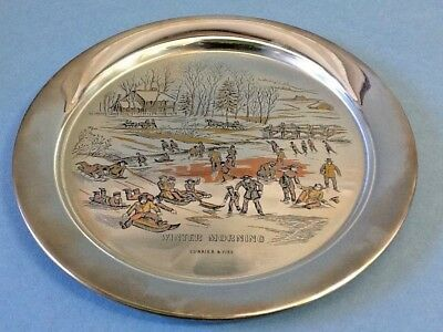 The Danbury Mint Plate Currier & Ives 1977 Winter Morning w/Box; COA