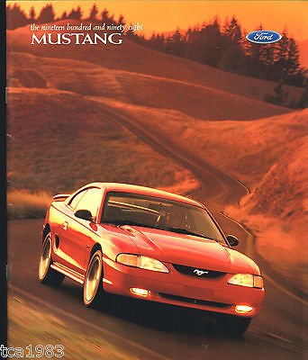 1998 Ford MUSTANG Brochure / Catalog with Color Chart: GT,