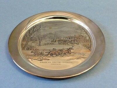 The Danbury Mint Plate Currier & Ives 1976 American Winter - Evening w/Box; COA