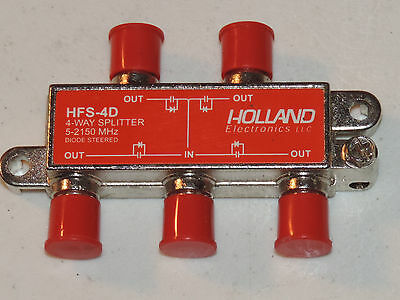 HFS-4D Holland 5-2150Mhz  4-Way Coax Splitter Dish Network Approved