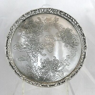 Antique Chinese Export Silver Salver Tray Wang Hing Canton Hong Kong c.1900