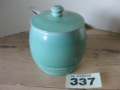 Sea Green Pottery Lidded Honey Jam Preserve Pot with Chrome Plated Spoon