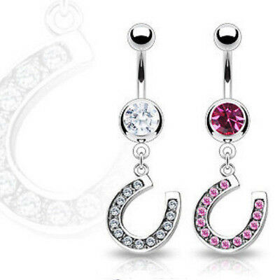 Horseshoe Clear Gem Belly Ring Navel Naval Lucky Horse Shoe Clear Pink