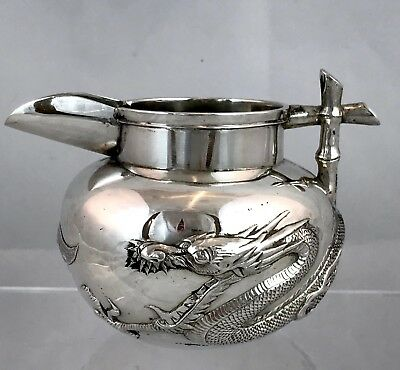 Antique Chinese Export Silver Jug Dragon c.1900