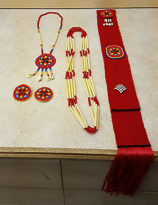 Nice 5 Piece Handcrafted Red Beaded Star Design Native American Indian Dance Set