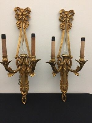 Fine Antique French Pair Sconces In Louis XV Style Bronze & Cristal