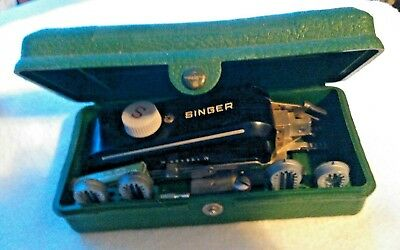 Vintage Singer Sewing Button Hole Attachment + 6  Templates In Original Box