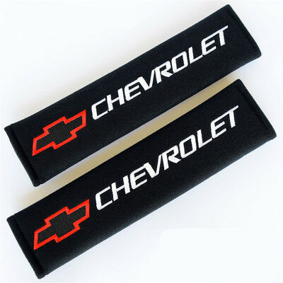 1 Pair Embroidery Seat Belt Cover Shoulder Pads Covers Cushion For Chevrolet RED