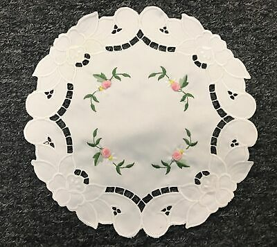 "12 Pcs 8"" Round Doily Doilies Coaster Lace Embroidered Handmade Wedding Party"