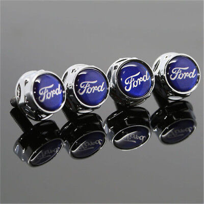 NEW 4X Car License Plate Frame Security Screw Bolt Caps Covers For FORD