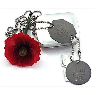 Anzac Day Remembrance Set Australia Oz Army Id Dog Tags Free Case & Text Limited