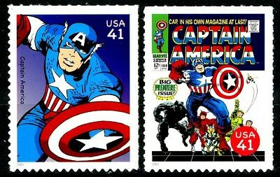 Captain America Set of 2 Scarce MNH US Postage Stamps Scott's 4159e and 4159o