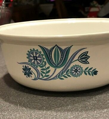 "Vintage Prizer Ware Enamel Cast Iron White with Blue Tulip 8"" sauce pan No Lid"