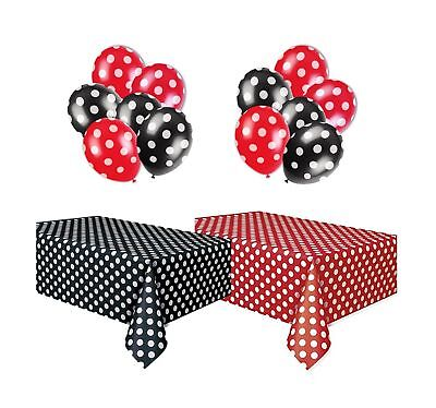 Polka Dot Plastic Tablecloth Red & White and Black & White, and Two Packages ...