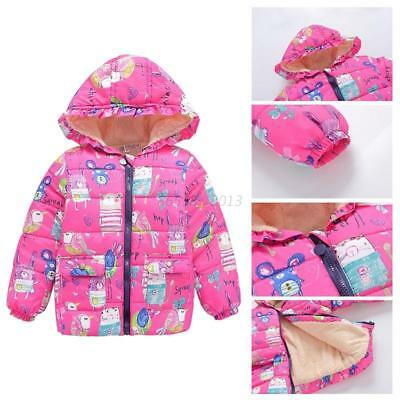 Winter Baby Kids Unisex Toddler Warm  Floral Hooded Coat Outwear Jacket 2-7Y