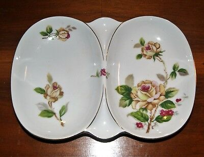 Vintage LYNMORE Golden Rose Fine China Divided Relish Tray