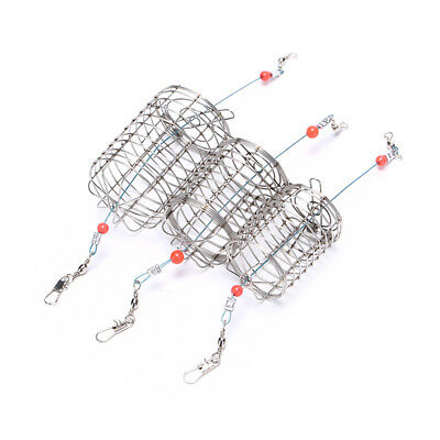 2x straight cylinder type stainless steel wire fishing lure cage bait cage trap