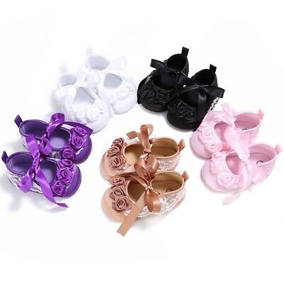 UK Indant Baby Girl Christening Shoes Soft Sole Bowknot Slip On Crib Shoes 0-18M