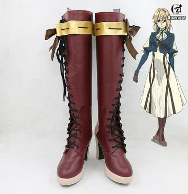 Violet Evergarden Brown High-heeled Boots Cosplay Shoes Cos Props Customize