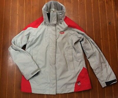 Women's Grey & Red Slam Sailing Coastal Hooded Jacket / Foul Wet Weather  Size M