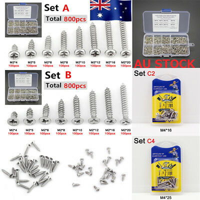 AU 800Pcs A2 Stainless Steel Pan Flat Head M2 M4 Self-Tapping Screws Countersunk