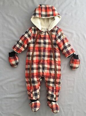 f69414821 CATIMINI BABY BOYS PADDED CHECK PRAMSUIT  ONE-PIECE SZ 9 MONTHS ...