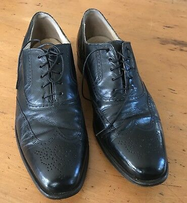 Vintage Men's French Shrider Black Leather Shoes Size 8 1/2 M Brogues Oxford