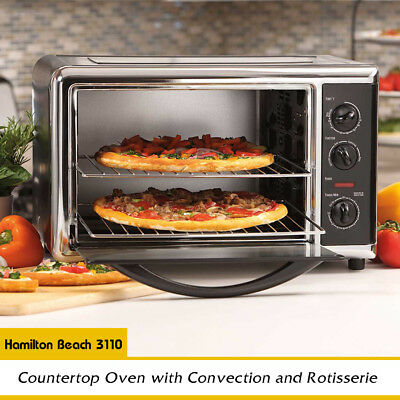 Hamilton Beach Countertop Oven with Convection and Rotisserie, 12 inch pizzas