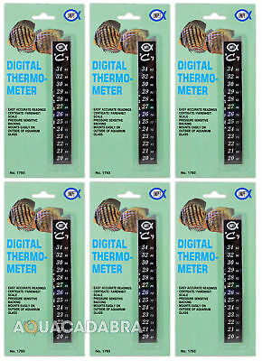 Aquarium Digital Thermometer x6 for Fish Tanks - Celcius/Farenheit, easy to read