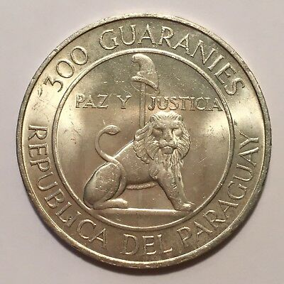 1973 Paraguay 300 Guaranies, Silver, STROESSNER 1968-1973, Golden Toning, Unc.