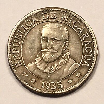 1935 Nicaragua 10 Centavos, Silver, 250,000 Mintage, Toned, KM#13, FREE SHIPPING