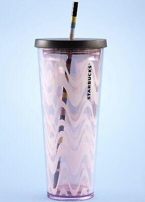 Starbucks Wavy Pink Acrylic Cold Cup Tumbler 24 oz Venti Spring Collection 2018