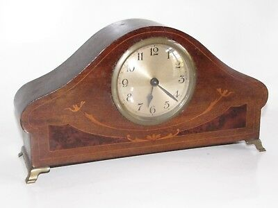 Antique Shelf Clock Solid Wood With Inlay Detail  Brass Bracket Feet-Running