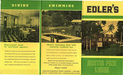 Edler's Rustic Pine Lodge Wisconsin Dells W Vintage Travel Brochure Photos Rates