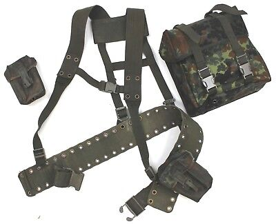GERMAN ARMY WEBBING KIT BACKPACK HARNESS & POUCHES in FLECKTARN  32 - 36 INCH