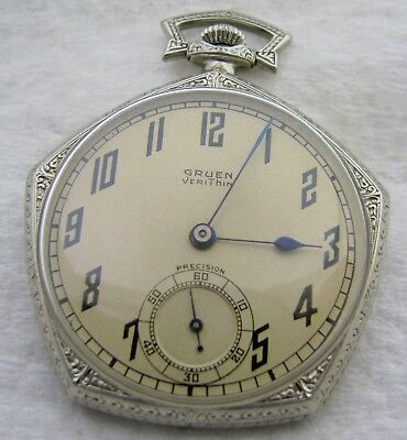 Vintage Art Deco 12S Swiss 17J Gruen Veri Thin Gold Filled Pocket Watch