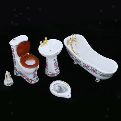 5pcs Floral Ceramic Bathroom Bathtub Set Dollhouse Miniature Furniture 1/12