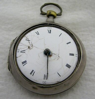 Antique Samuel Mortlock Clapham Key Wind Coin Silver Fusee Pocket Watch Parts
