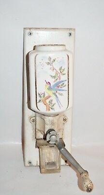 Antique Wall Mounted Porcelain Coffee Grinder Rare Bird Colorful Pattern