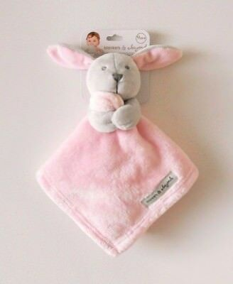Blankets & and Beyond Gray Bunny Pink Security Blanket Baby Lovey Nunu New NWT