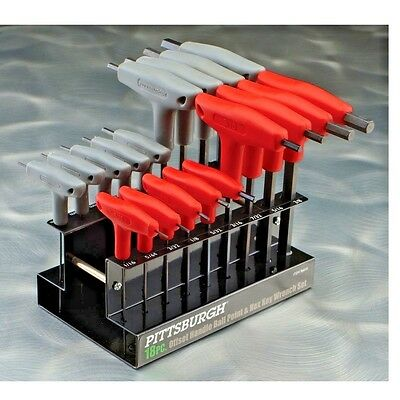 18 Pc SAE Metric T-Handle Ball Point Hex Key Set Allen Wrench Ball Point End