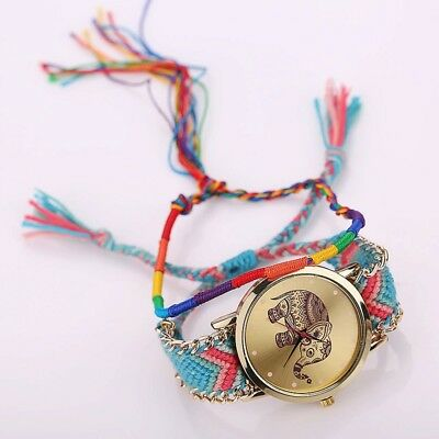 Women Elephant Print Bohemian Braided Wristwatch Elegant Fashion Ladies