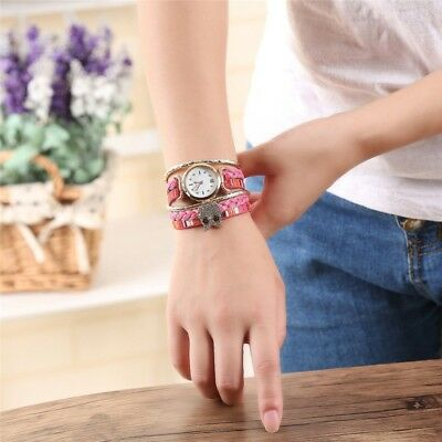 Multi-layered Braided Owl Cartoon Quartz Watch Handmade Leather Fashion Retro